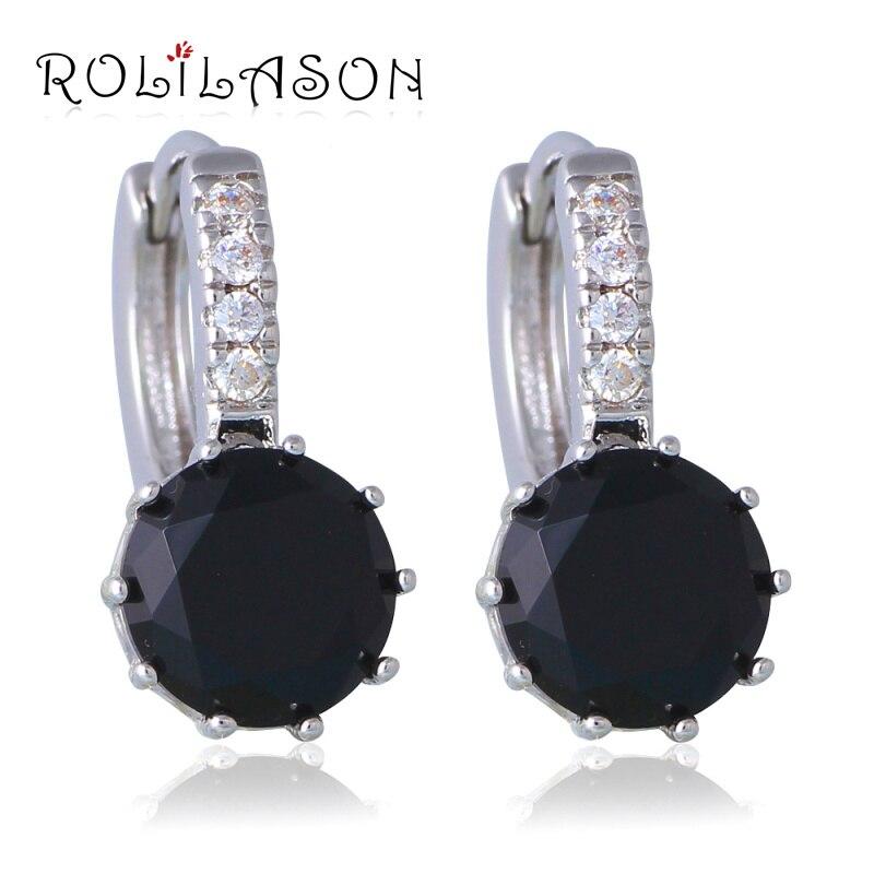 Wedding AAA black Onxy Fashion Jewelry Silver Cubic Zirconia Clip Earrings for Women JEs1031