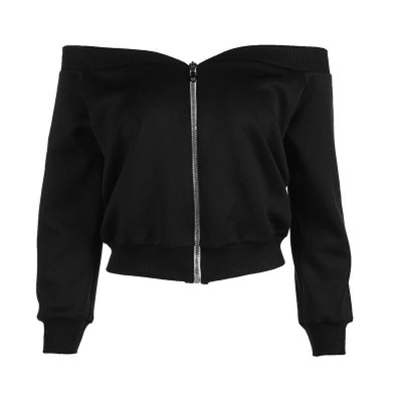 Casual Womens Pure Black fleece Shirt Sexy Strapless Exposed Navel Word Collar Metal Zipper 2018 New Trend Street Shooting