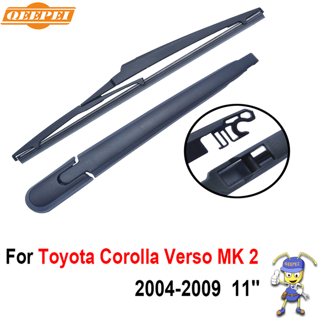 QEEPEI Rear Windscreen Wiper and Arm For Toyota Corolla Verso MK 2 (ZZE,ZER,R1) 2004-2009 11'' 5 door MPV Natural Rubber