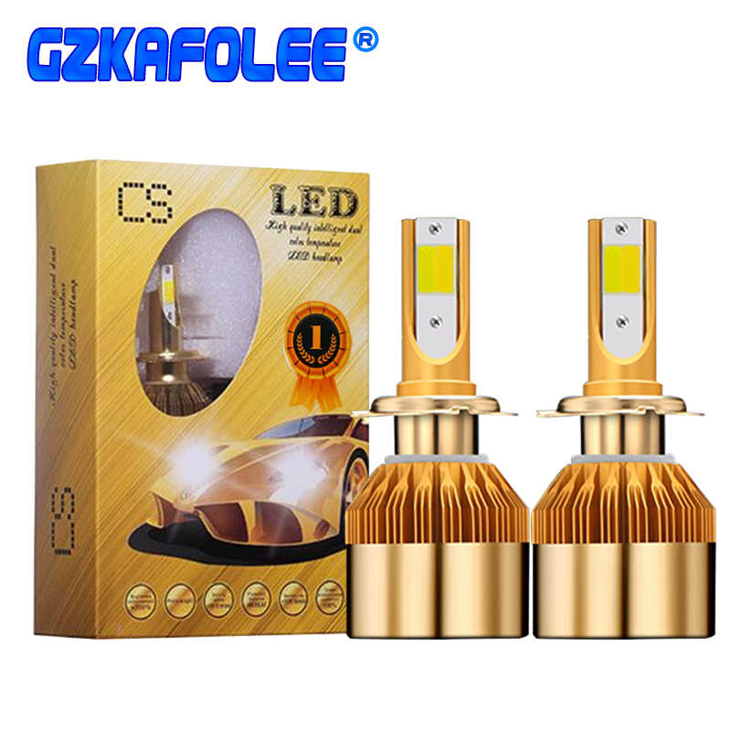 GZ KAFOLEE 2018 New Double Color Light 4800LM H4 Led Bulb H7 H3 H11 H8 H9 HB3 9005 HB4 9006 880 881 12V 48W Automobiles Headlamp