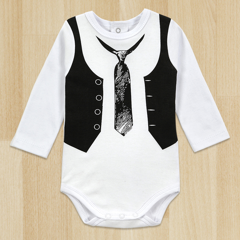 Top Quality Retail One-Pieces Baby Boy Gentleman   Romper   White Long Sleeve Baby Winter Overalls Baby Newborn Clothes Body