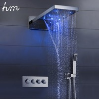 hm 22 LED Shower System Rain And Waterfall Shower Head Water Saving Hand Shower Valve Waterfall SPA Bath & Shower Faucets