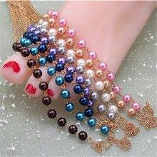7 Цветов Горячие моды летний пляж стеклянные бусины браслет на лодыжке браслет cheville браслеты tobilleras mujer браслеты босиком сандалии