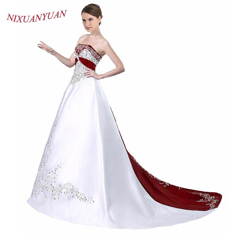 2017 Elegant Embroidery Vintage Floor Length Gown Purple Black Red Satin Beaded Vestidos De Novia A Line Wedding Dresses 2017