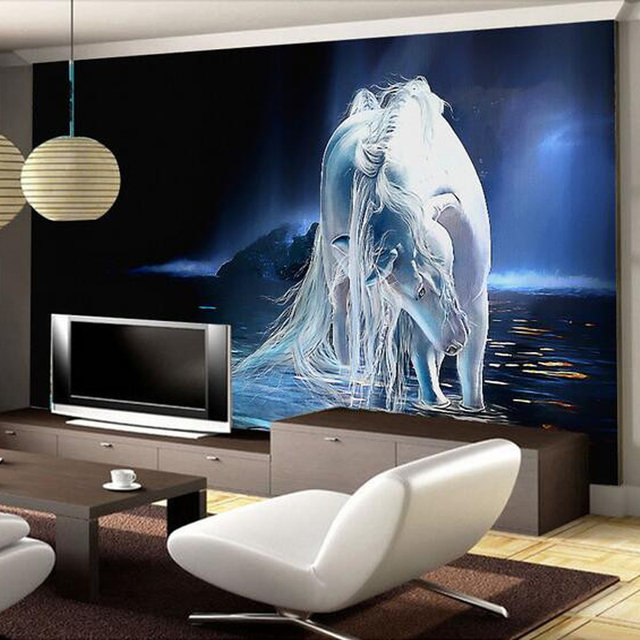 Superieur Customized Any Size White Horse Wall Art Painting Photo 3D Wall Mural  Wallpaper For Living Room