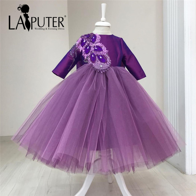 1bd7c57f2b9 New O-neck Long Sleeve Purple Flower Girl Dresses Ball Gown Crystals  Appliqued Satin Tulle Kids Prom Evening Dress Girls Pageant