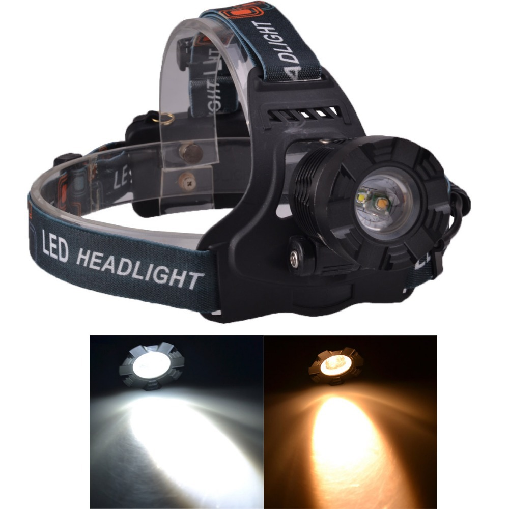 SingFire SF-642 450LM 5V USB Rechargeable Cool White+Warm White Zooming LED Headlamp Free 2x18650 Battery singfire sf 558b 200lm 4 mode white green led zooming headlight blue 2 x 18650
