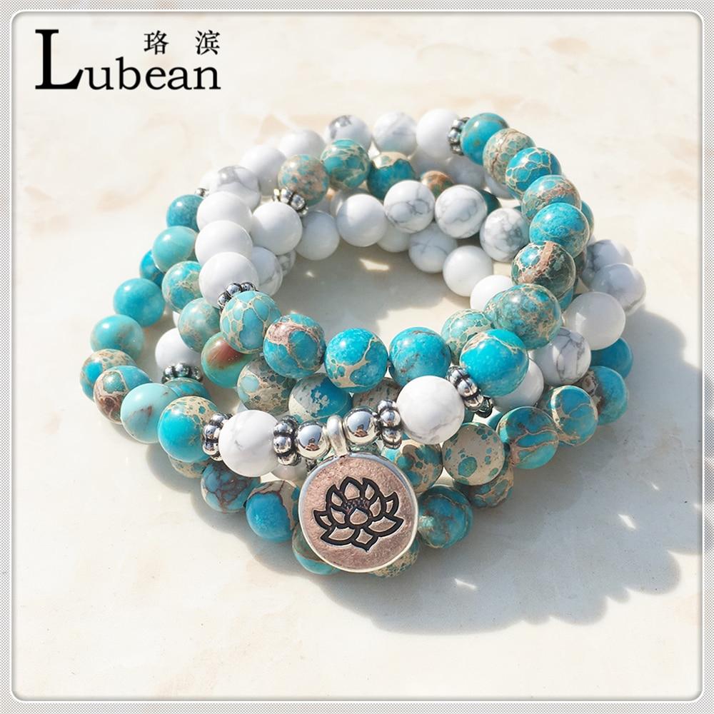 Prix pour Lubean Design De Mode Howlite Naturel Pierre Mala Bracelet 108 Perles Mala Bracelet D'enveloppe ou de Haute Qualité Lotus Bracelet