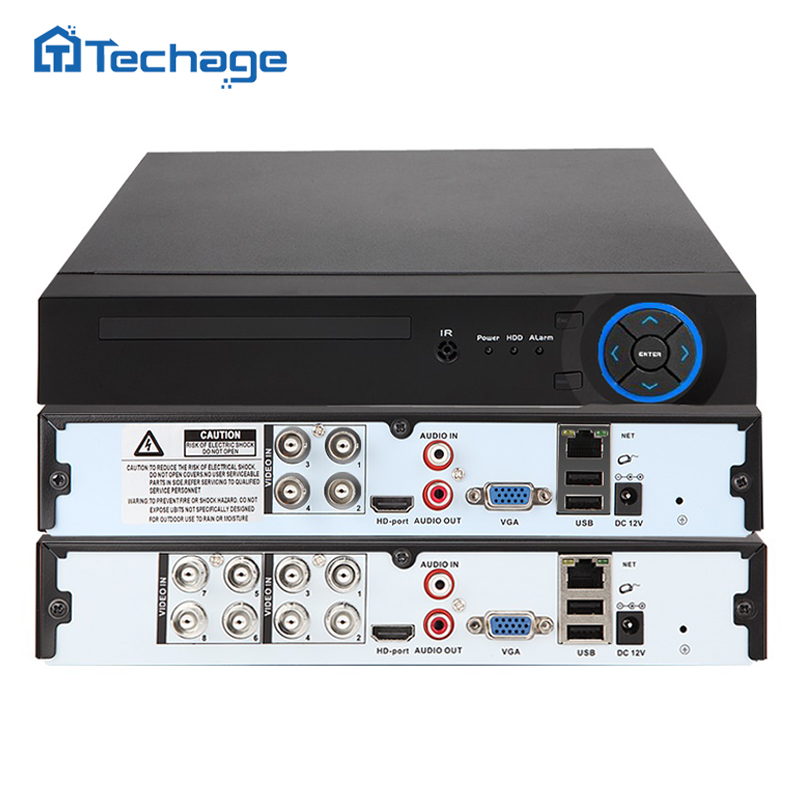 Techage Full 8CH 4CH H.264 1080P HDMI AHD AHD-H CCTV DVR NVR HVR P2P ONVIF 2.0 Security Video Recorder for Analog AHD IP Camera sannce 8 channel 720p h 264 video recorder hdmi network d1 realtime cctv dvr nvr hvr 8ch for home security camera system