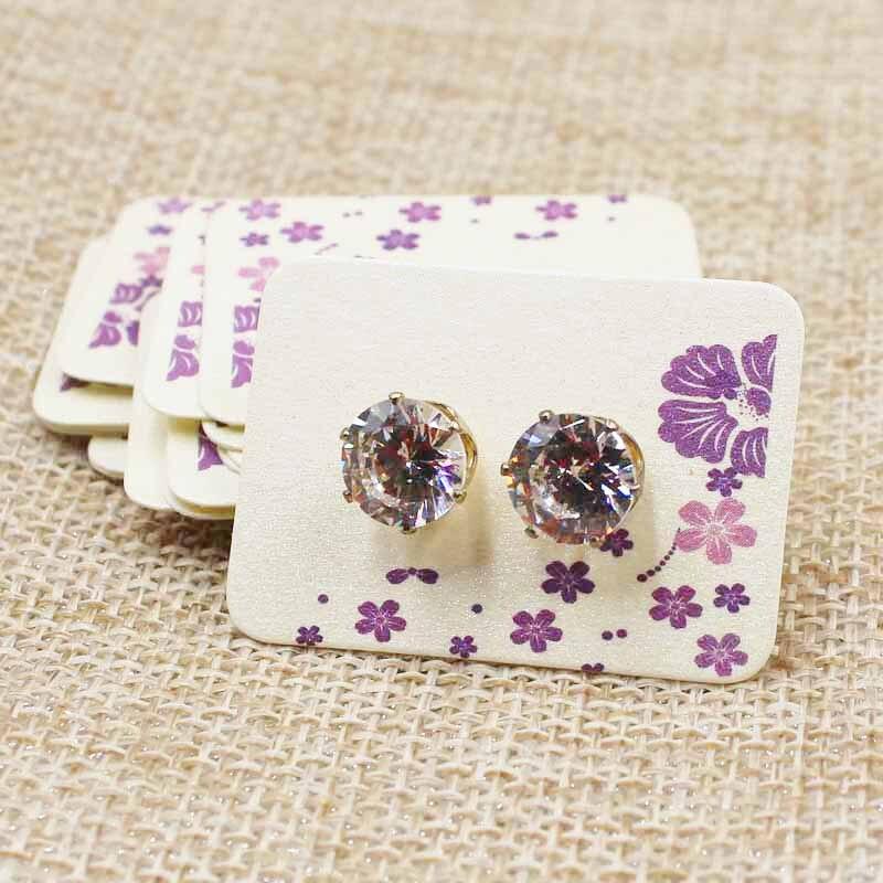 100PCS 3.5*2.5cm Pearl White Paper Cute Stud Earring  Hang Tag Card Custom Beautiful Flower Print Jewelry Display Packing Card