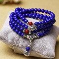 1PCS P&J Fashion 6mm Chalcedony Beads Tibetan Buddhist 108 Prayer Beads Necklace Gourd mala Prayer Bracelet for Meditation B0024