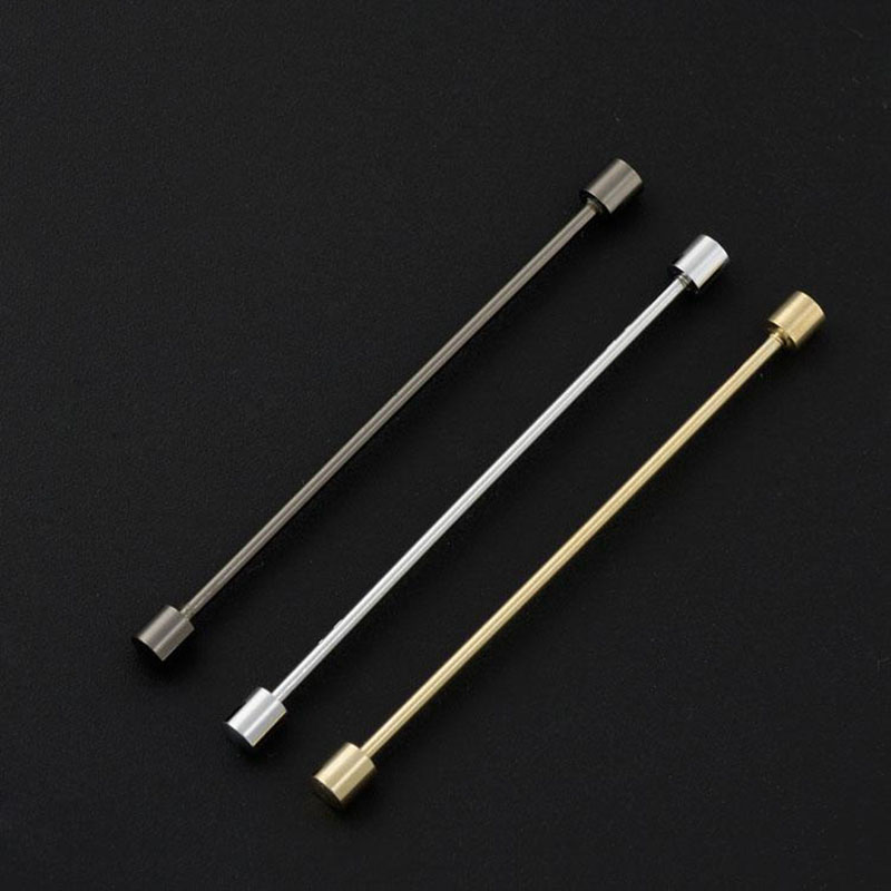 2pcs obn brand gold silver cylinder head mens tie collar for Tie bar collar shirt
