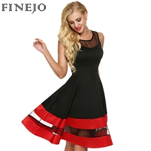 FINEJO Women Fashion Sleeveless Party Dress See-through Organza Patchwork Contrast Color A-Line Midi Party Dresses Plus Size