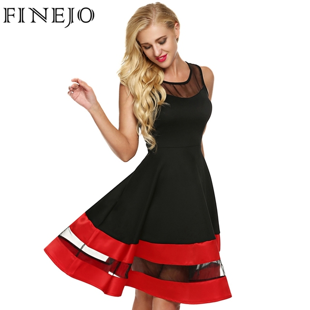FINEJO Women Fashion Sleeveless Party Dress See-through Organza Patchwork  Contrast Color A-Line Midi Party Dresses Plus Size 35634203bf84