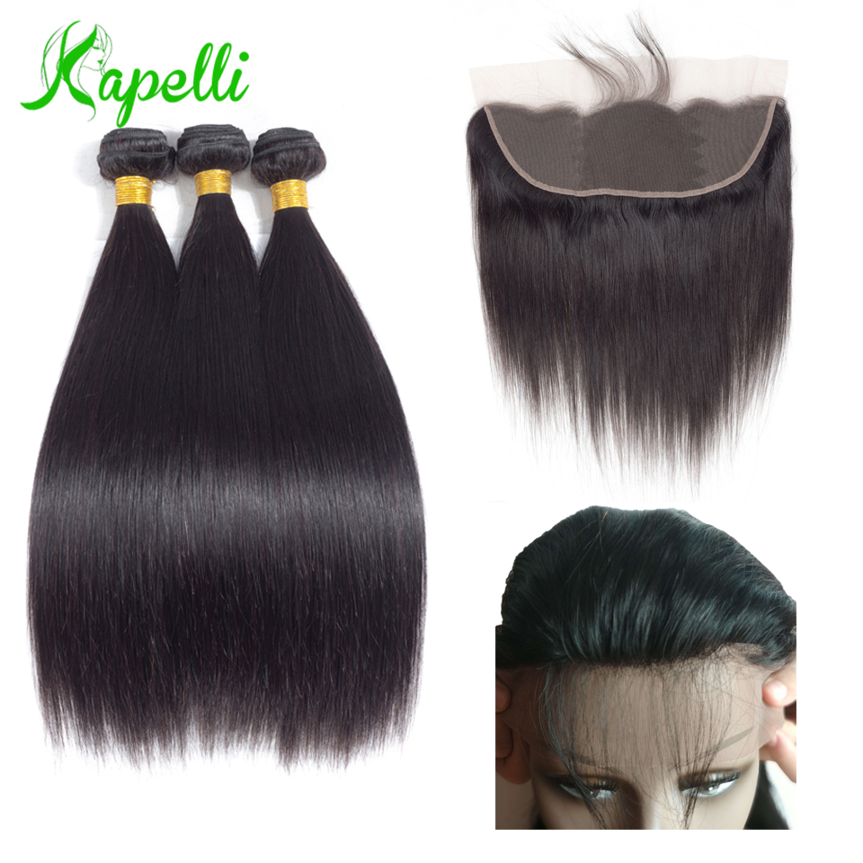Straight Hair Bundles With Frontal Brazilian Hair Weave Bundles 3 Bundles With Closure Human Hair Bundles With Closurel13*4Remy