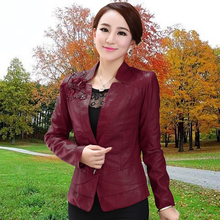 Free Shipping!!!2015 spring plus size clothing women's PU clothing slim leather jacket short coat female design L-5XL