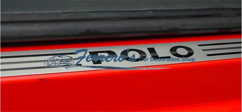 4 шт./лот, наклейки для автомобиля, Стайлинг для 2011- VOLKSWAGEN VW POLO, ультратонкая Накладка на порог из нержавеющей стали