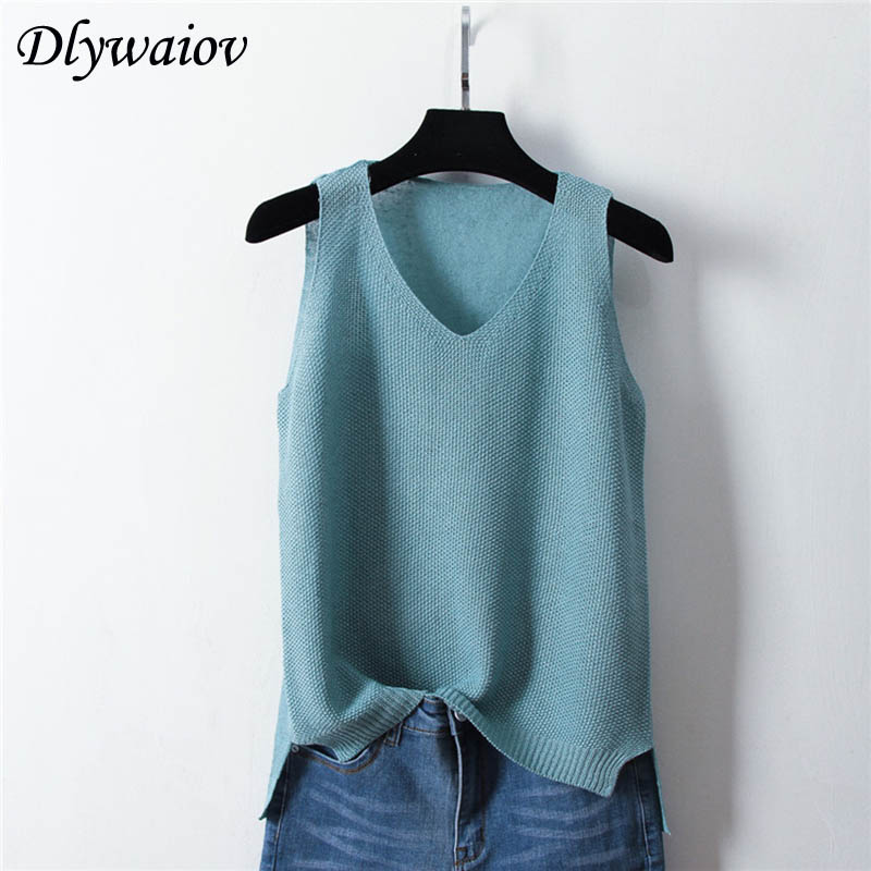 2019 Summer Sleeveless Knit Sexy Tank Women Rib Vest Ice Silk Female Elasticity Casual Loose Thin Camisole V Neck Split Tops