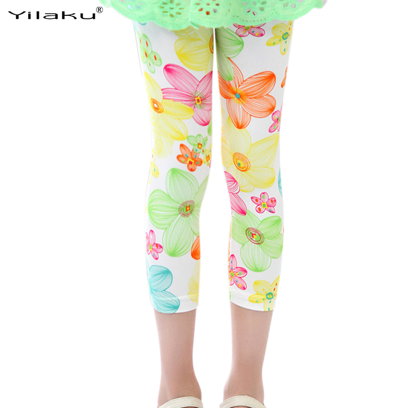 Yilaku Summer Girl Leggings Vêtements Enfants Enfants Fleur Imprimé Pantalon Printemps Toddler Fille Sport Legging Pantalon Vêtements CI008