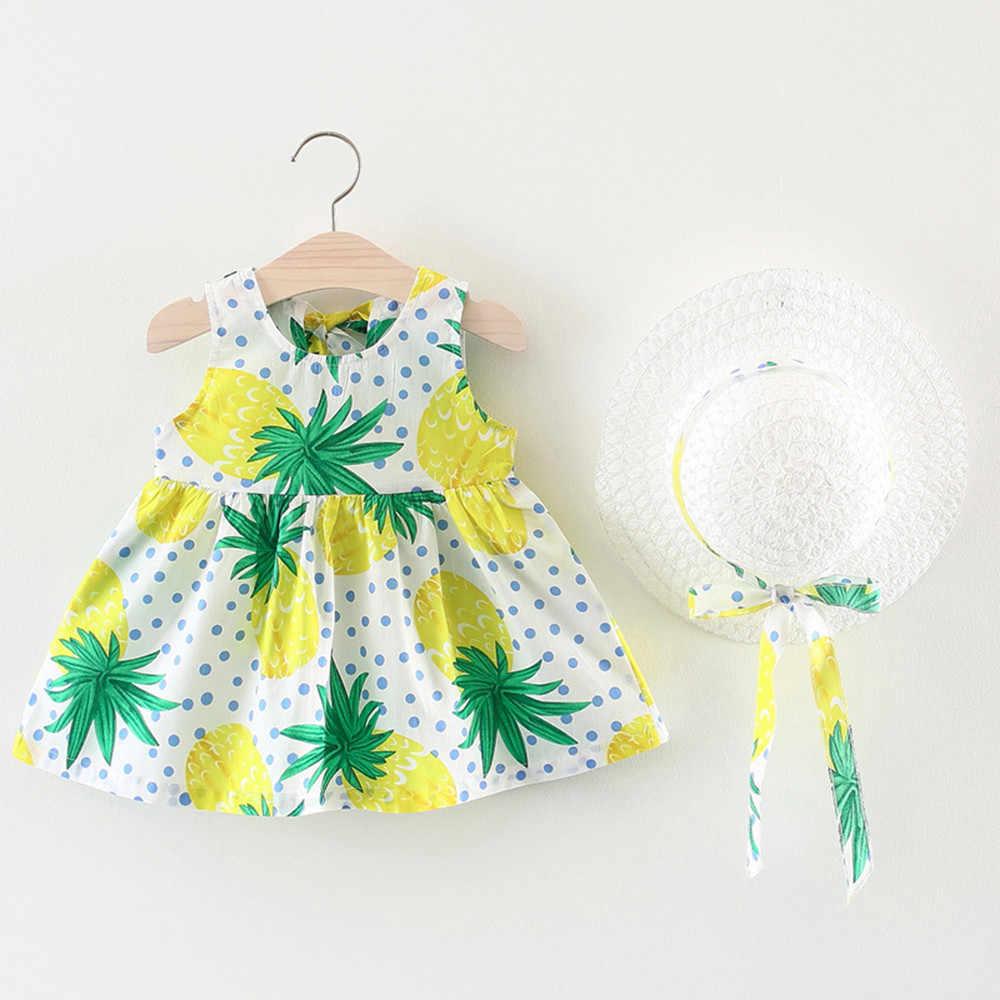 Младенческой ToddlerGirls платье фрукты, Цветочные Вечерние Кепки Пляжное платье Детская одежда летнее платье для девочек 2019 Sukienka Niemowleca