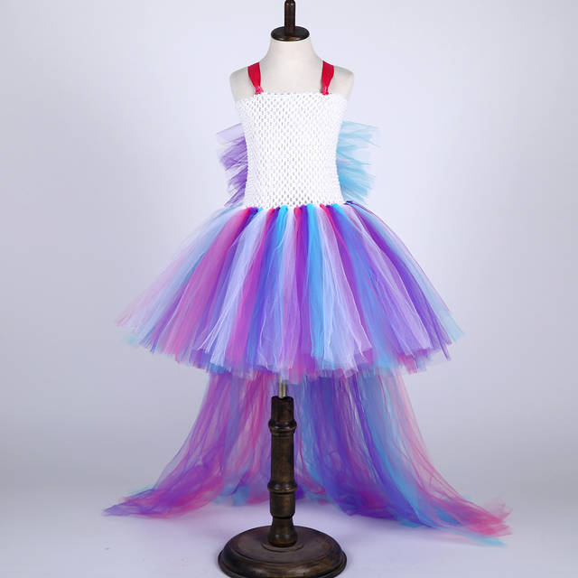 e3d894fc77a2 Bustle Unicorn Tutu Dresses For Girls Birthday Party Dress Up Kids  Halloween Costume Train Tail Colorful