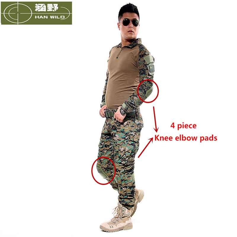 New Military Camouflage Army Unifrom Combat font b Shirt b font With Knee Elbow Pads Airsoft