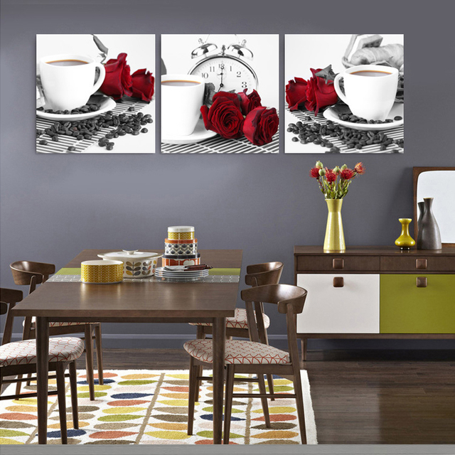 Kitchen Abstract Oil Paintings Triptych Painting Wall Art Bilder