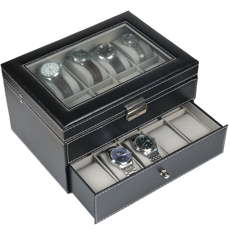 20 Grids PU Leather Watch Case Storage Organizer Box Luxury Jewelry Ring Display Watch Boxes Black top New Double Two Layers20 Grids PU Leather Watch Case Storage Organizer Box Luxury Jewelry Ring Display Watch Boxes Black top New Double Two Layers