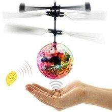Мини-Дрон Радиоуправляемый вертолет летающий шар летающие игрушки шар сверкающий светодиодное освещение Квадрокоптер Дрон Летающий вертолет детские игрушки