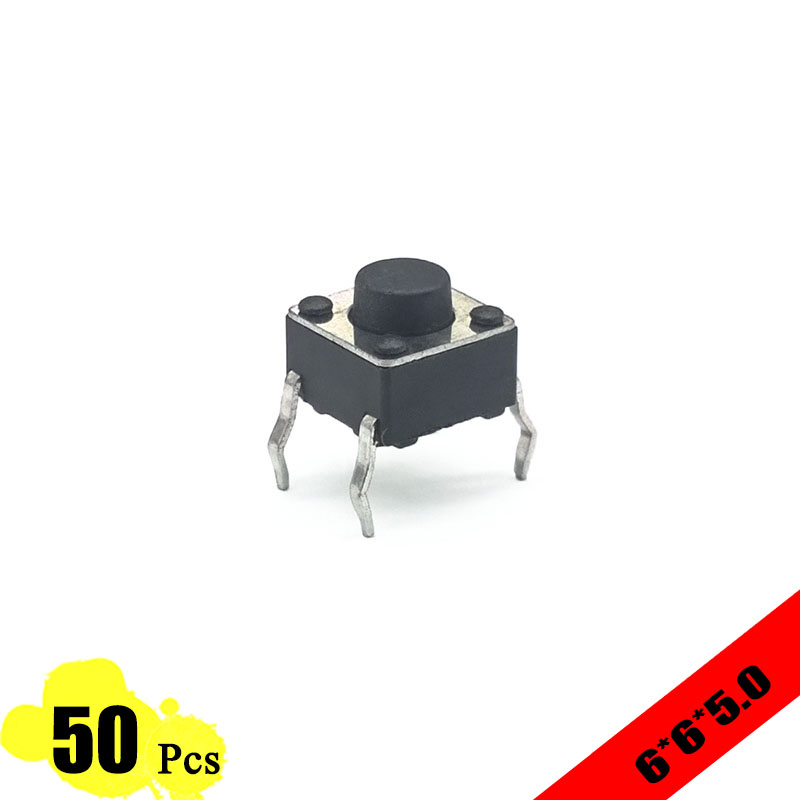 50pcs/lot 6*6*5.0 mm Interruptor 4 PIN Tactile Tact switch 12V Push Button Micro Switch DIP Direct Plug-in Self-Reset Top 50pcs 6x6x4 3mm tactile push button switch 4 pins micro switch 4 pin dip momentary touch switch