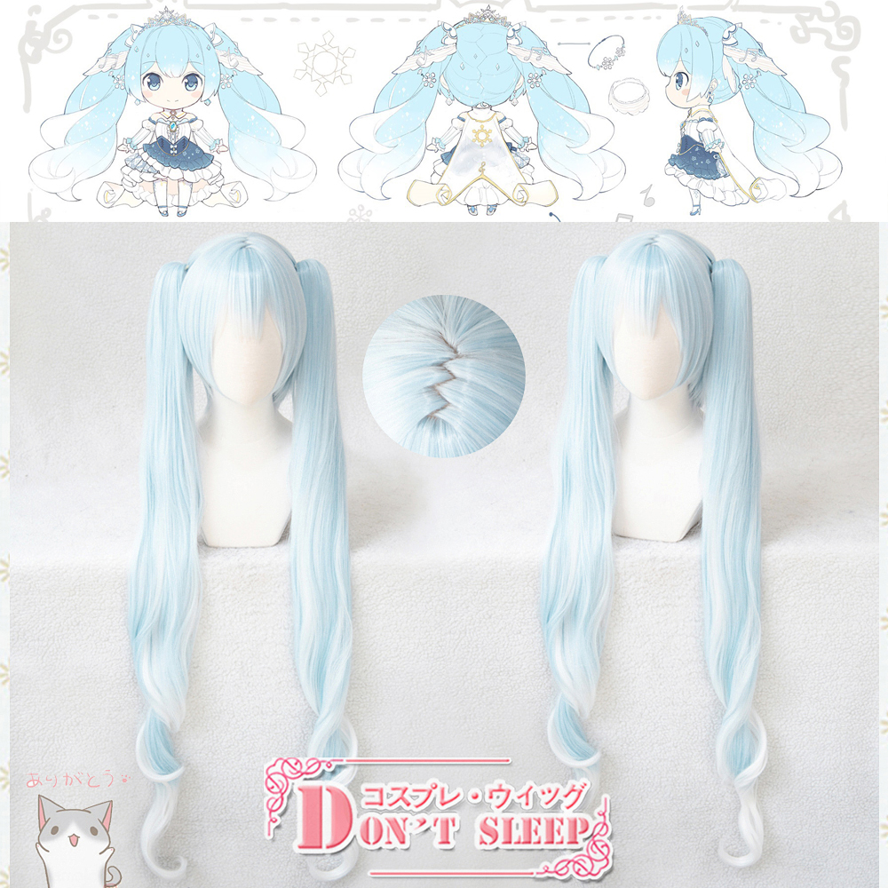 2019 Vocaloid Hatsune Snow Miku Cosplay Wig Gradient Blue Long Wavy Pigtails Synthetic Hair
