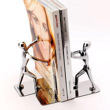 1 Pair/Lot Fashion Cool Metal Stainless Steel Human-Shaped Bookend for School Stationery & Office Supply
