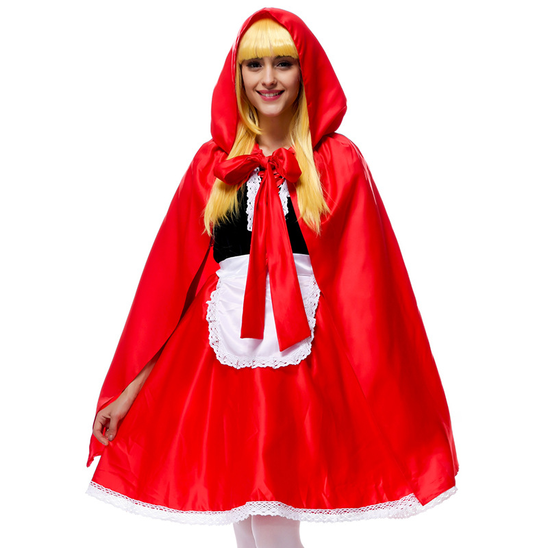 New little red riding hood halloween costumes for women princess adults fancy dress with cloak costume for cape