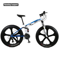 Running Leopard Front And Rear Shock Absorption Bikes 26 X4 0 Fat Bike 24 Speed Foldable