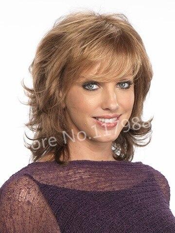 Blonde Medium Wavy Hair Volume Fluffy Wig Long Layer Bangs For
