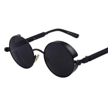 Czarne okrągłe steampunkowe okulary przeciwsłoneczne mężczyźni moda marka projektant luksusowe klasyczne retro lustrzane okulary przeciwłoneczne kobiety okrągłe okulary óculos tanie i dobre opinie BINYEAE CN (pochodzenie) ROUND Adult STOP NONE MIRROR UV400 Przeciwodblaskowe Fotochromowe Gradient Z poliwęglanu ZML96
