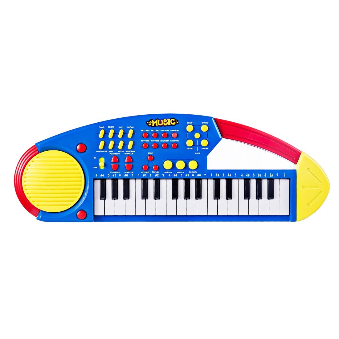 Surwish nuevo 32 teclado electrónico Piano instrumentos musicales de juguete para niños-amarillo + azul
