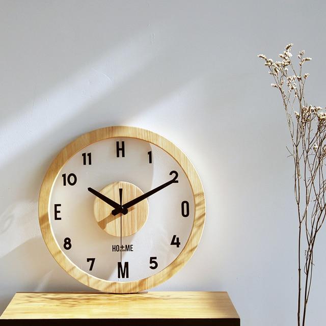 Singkat gaya pastoral transparan Tergantung Jam kayu jam dinding Bergaya  Art Ruang Tamu Kayu Dekoratif c41a717237