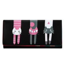 Lovely Cat Pattern Girls Wallet Candy Color PU Leather Women Wallet Cartoon Cat Printed Portfolio Wallet and Purse Card Holder