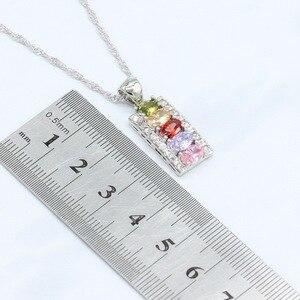 Image 4 - Conjuntos de joyería de boda de circonia cúbica Multicolor para mujer, conjuntos de joyas para mujer, pulsera, pendientes, collar, anillos colgantes, caja de regalo gratis