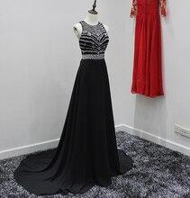 Royal Blue Sexy Abendkleid Schwarz Chiffon Backless Elegante Lange Abendkleider mit Kristallen