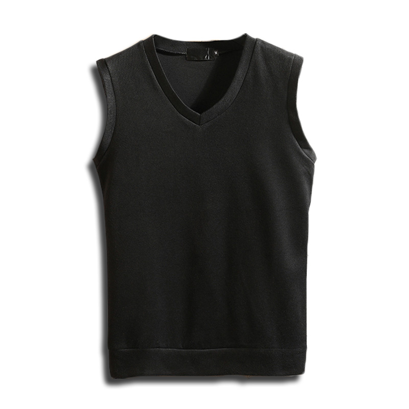 Autumn Winter Cashmere Classic Vest Sweater Men Sleeveless Sweaters Solid Color V-Neck Wool Pullovers Men Jersey Hombre