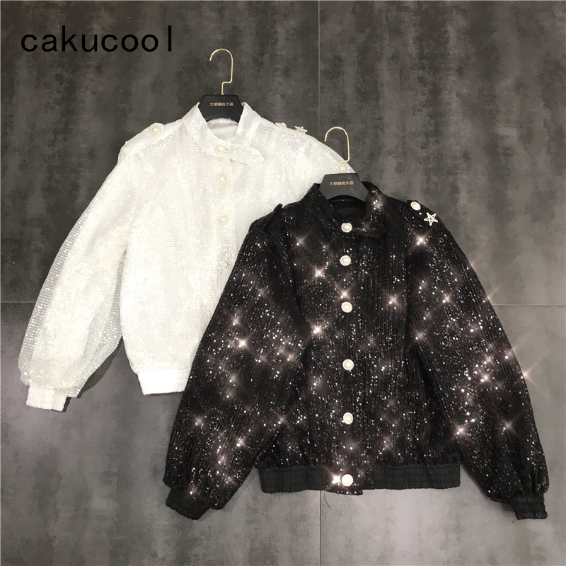 Cakucool Women Chic Jacket 2019 Full Sequins Shiny Jackets Round Neck Long Sleeve Stars Casual Party Bar Coat Outerwear Female