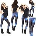 Плюс Размер 2017 Новый Женский Сексуальный Вселенная Galaxy Blue Отпечатано Леггинсы Брюки Эластичность Мода Пространство Tie Dye Молоко Шелковый