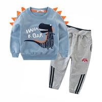 Cotton Children Clothing Set for Boys 2019 Autumn Cartoon Kids Tops and Pants 2pcs Set 2 3 4 5 6 8 9 Years Dinosaur Kids Clothes