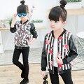 2017 nova moda das crianças moda pu jacket 3-9 anos de idade menina de impressão em torno do pescoço flores camuflagem artificial couro coa