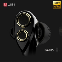 UIISII BA T8S 2DD 1BA 6 Drives Hybrid Technology Earphone HIFI Noise Isolating Stereo With Mic