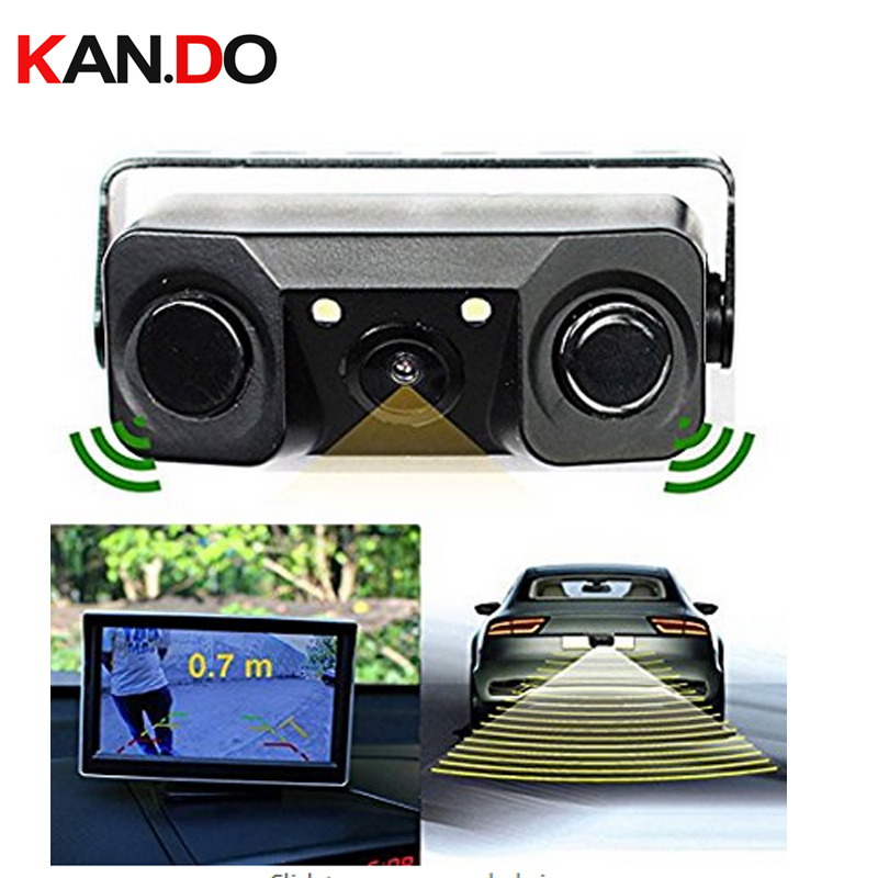 HD Video Camera Rear View Camera Backup Reverse Sensor Camera with 2 Parking Sensors radar and Bi Bi Alarm function for truck for ford escape maverick mariner car parking sensors rear view back up camera 2 in 1 visual alarm parking system
