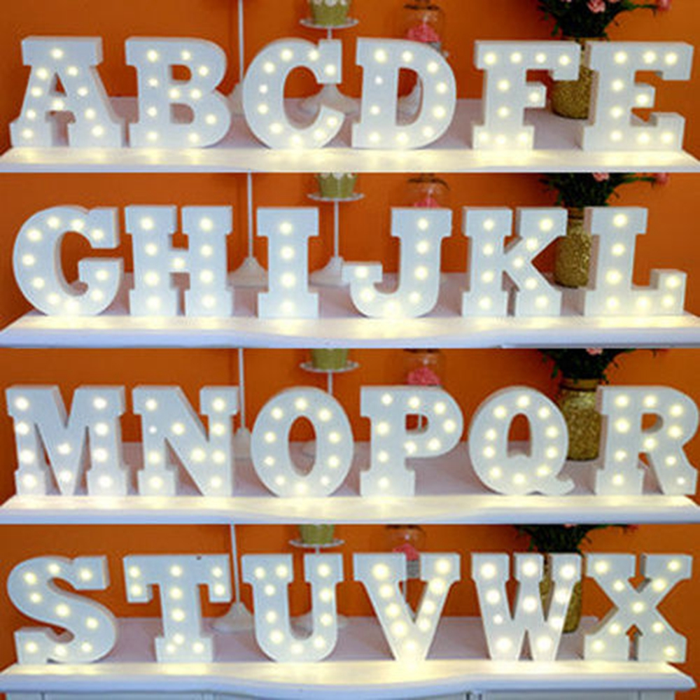 a z white wooden led letter lights sign alphabet night lights indoor wall desk decor craft