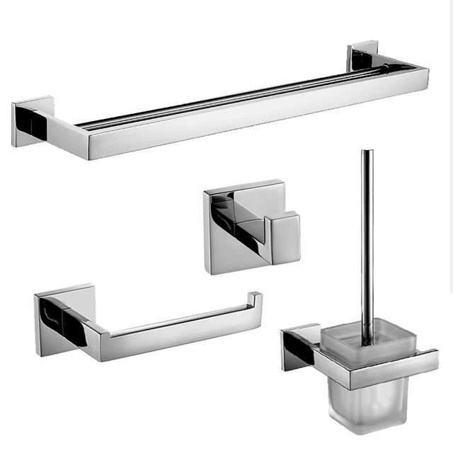 Modern Silver 304 Stainless Steel Bathroom Accessories Sets Square Base Polished Chrome Products Bath Hardware